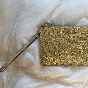 KATE SPADE Gold Sparkly Mini Wristlet